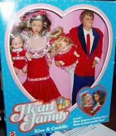"Heart Family. I remember my neighbor had these. They even made a ""pregnant"" mom with a maternity smock stuffed with a little pillow that went over her dress. She came with a newborn baby."