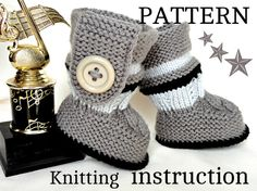 Baby Booties w Cable & Side Tab Button by Elena Mitchell - *pattern