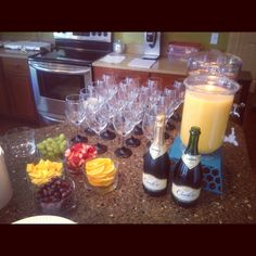 Mimosa and Sangria Bar with chalkboard painted Wine Glasses
