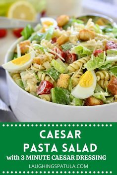 A delicious combination of crisp romaine and tender pasta tossed in an easy to make caesar dressing and homemade croutons. Homemade Pasta Salad, Best Pasta Salad, Pasta Salad Recipes, Caesar Pasta Salads, Greek Salad Pasta, Soup And Salad, Caesar Salad, Grilled Lemon Chicken, Healthy Chicken