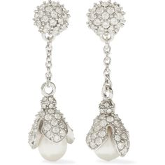 Balenciaga Lily silver-tone, pearl and crystal earrings (3.960 VEF) ❤ liked on Polyvore featuring jewelry, earrings, silver, balenciaga, pearl crystal earrings, sparkle jewelry, white pearl drop earrings and pearl jewellery
