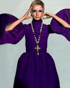 Maudie James wearing a purple butterfly dress by Michel Goma for Jean Patou - Photo by David Bailey for Vogue UK, September 1968 Vogue Uk, Vintage Vogue, 60s And 70s Fashion, Retro Fashion, High Fashion, Twiggy, John Cole, David Bailey Photography, Jean Patou
