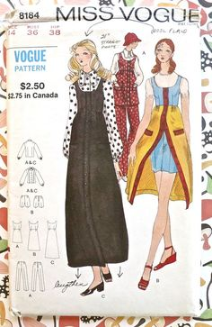 Vogue 8184  Vintage 1970s Womens Dress Pattern with by Fragolina, $16.00