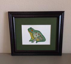 Frog Watercolor Painting Framed Original by GulfLifebyNichole