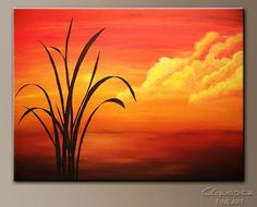 Nurture the cohesive design within your room through this beautiful abstract art painting 'Sunset Palm', created with professional acrylic paints on gallery wrapped canvas. Art Painting Gallery, Easy Canvas Painting, Simple Acrylic Paintings, Watercolor Paintings, Canvas Art, Art Paintings, Easy Watercolor, Abstract Paintings, Sunset Acrylic Painting