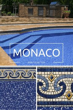 Monaco - This beautiful pattern is the improved version of the popular Capri pattern. We've added more detail and texture. There is also a nice touch of gray in the tile to complement many common deck choices. #beautifuldesigns #poolliner #pool