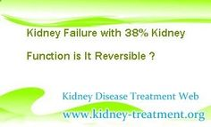 """I have a question concerning kidney failure, my kidney function is at 38% now is it reversible ?"" In fact, with timely and properly treatment, the lower kidney function can be improved to some degree, but no one can tell you whether it can be reversed totally, that is because many factors will affect the curative effect."