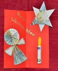 Ein Geldgeschenk zu Weihnachten muss man nicht einfach nur in den Umschlag stecken. Man kann die Geldscheine zu weihnachtlichen Figuren falten (Origami). Hier gibt es Anleitungen, wie aus einem (oder zwei) Geldschein(en) eine Kerze entsteht, wie man aus 3 Geldscheinen einen Engel faltet und wie aus 3 Geldscheinen ein Stern wird. http://www.kreativ-portal.de/anleitungen/geschenke/geldgeschenke-basteln-fuer-weihnachten-engel-stern-und-kerze-aus-geldscheinen-falten