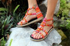 Boho Womens Gladiator Sandals In Bright by SiameseDreamDesign, $40.00