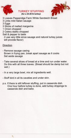 Homemade turkey stuffing - Comment if you try this recipe and like it.