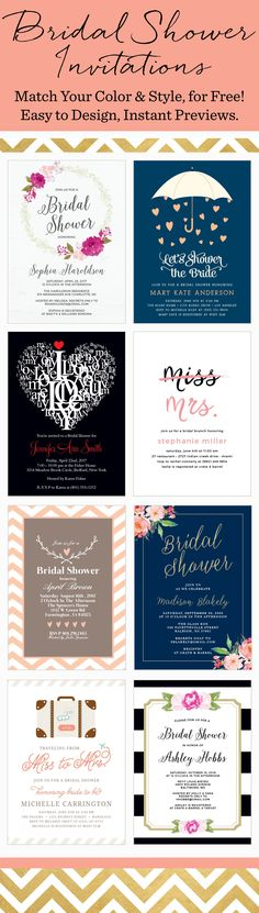 Design your perfect brial shower card instantly online with real-time previews of every change. Each card in over 160 different colors. Bridal Shower Party, Bridal Shower Decorations, Bridal Showers, Wedding Shower Invitations, Diy Invitations, Invites, Wedding Planning, Wedding Ideas, Wedding Card