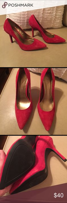 BCBGeneration Red Leather Heels (suede) Hot Red BCBGeneration heels.  Never worn. BCBGeneration Shoes Heels