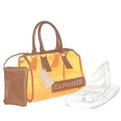 Borsa in plastica trasparente arancione con asciugamano da mare incorporato.Doppio manico in ecopelle marrone.