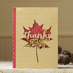 Handmade Autumnal Thank You Card with Shaker Element £3.00