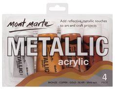Art Shed Online - Mont Marte Metallic Acrylic 50mls 4pce, $13.95 (http://www.artshedonline.com.au/mont-marte-metallic-acrylic-50mls-4pce/)