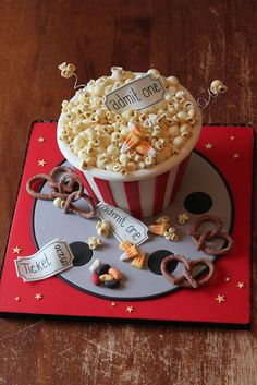 Movie night popcorn cake