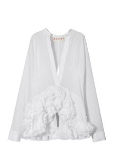 """MARNI. Runway shirt in creponne and silk chiffon. """"Sakura"""" print. V-neck, long-sleeved shirt with under-top and back slit. Frayed frills –the collection theme – on both sides embellish the bottom of the garment. Floral print."""