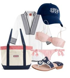 Beach Please by dashboardx featuring navajo shoes ❤ liked on Polyvore Tory Burch bohemian tunic / J.Crew seersucker bikini / J.Crew seersucker bikini / Jack Rogers navajo shoes / Vineyard Vines  tote bag / Cap hat
