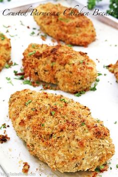 This tasty make-ahead meal is so easy to prepare, it will come to your rescue in the busiest of days. Not only this Crusted Parmesan Chicken Breasts recipe truly makes dinner time easy but must also be delicious, especially for my picky eaters. With flavors like these, its tenderness, and juiciness of the chicken, they gobble it up in no time. #ovenbakedchicken #breadedchickenbreasts #juicyandtenderchicken #dinner Parmesan Chicken Breast Recipe, Grilled Chicken Parmesan, Baked Chicken Breast, Grilled Chicken Recipes, Chicken Breasts, Slow Cooker Chicken, Chicken Meals, Frugal Meals, Healthy Dinner Recipes