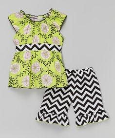 Look at this #zulilyfind! Green & Black Pam Tunic & Pants - Toddler & Girls by AnnLoren #zulilyfinds