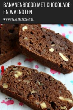 Banana bread with chocolate and walnuts - Francesca Boils Healthy Sugar, Healthy Dessert Recipes, Healthy Baking, Healthy Diners, Cheesecake, Fodmap Recipes, Breakfast Bake, Diy Food, Love Food