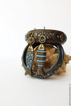 Купить Серьги из полимерной глины Мечты рыбака - комбинированный, колье полимерная глина, украшение рыба