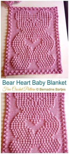 Bear Heart Baby Blanket Crochet Free Pattern - Throw Free Patterns Valentine Heart Throw Blanket Free Crochet Patterns: Collection of Love Blanket, Valentine Heart Afghan, Heart Throw Baby Blanket, Adult Lapghan Gifts Crochet Afghans, Crochet Heart Blanket, Bobble Crochet, Crochet Baby Blanket Beginner, Crochet Baby Blanket Free Pattern, Crochet Bear, Bear Blanket, Crochet Gifts, Baby Blankets To Crochet