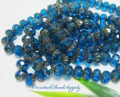 50 Royal Blue Czech Pony Beads 6mm x 5mm with 1mm Hole 30 Tibetan Beads Free