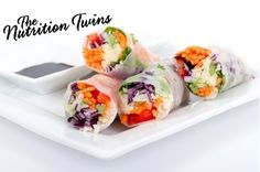 Salmon and Asparagus Spring Rolls | Light, Healthy & Refreshing | Scrumptious Dipping Sauce| Mix & Match veggies/salmon with what you have on hand |  For MORE RECIPES like this please sign up for our FREE NEWSLETTER www.NutritionTwins.com