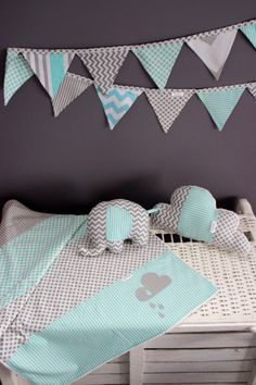 Baby nursery decor set. Blue and grey,aqua baby blanket.Cloud pillow,elephant softie.Blue and grey bunting.cloud blanket.baby boy nursery on Etsy, $190.00 AUD
