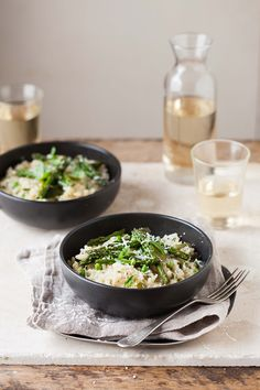 Asparagus and pea risotto with basil and lemon | DrizzleandDip.com | photography Sam Linsell