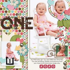 #papercraft #scrapbook #layout - You're One!