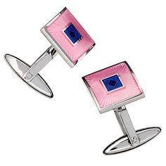 Square English Enamel Cufflinks with Diamond Accents