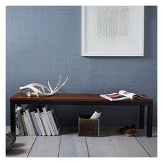 """West Elm Industrial Leg Bench - 66"""", West Elm - Living Room Seating -... (3,370 CNY) ❤ liked on Polyvore featuring home, furniture, industrial furniture, west elm, industrial home furniture and west elm furniture"""