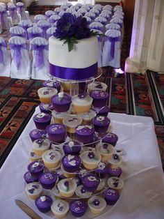 Purple Cupcake Wedding Tower, via Flickr.