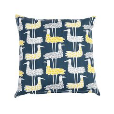 Shore Birds Cotton Cushion 45x45cm, Blue, Klippan Yllefabrik