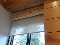Like the hidden blinds.   The Lutron shade control system allows the homeowner to preset shade positions throughout the day. Shades can be lowered to block sun rays and cool the home or raised to let in sunlight and heat the home.