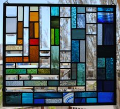 """Stained Glass Window """"Water's Edge"""" in Jewel Colors. $279.00, via Etsy."""