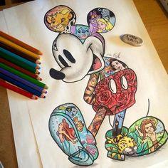 Mickey Mouse [feat. Simba, Stitch, the Cheshire Cat, Alice, Genie, Tigger, Snow White, Mushu, Dory, Marlin, Ariel as a mermaid, Peter Pan, Sabor & Tarzan] (Image Within by LittleSamsArt93 @Facebook) #TheLionKing #LiloAndStitch #AliceInWonderland #Aladdin #WinnieThePooh #SnowWhiteAndTheSevenDwarfs #Mulan #FindingNemo #TheLittleMermaid #PeterPan #Tarzan