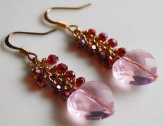 Pink and Red Heart Cluster Dangle Earrings  by CoolJewelCreations