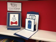 Stampin up Dr. Who birthday card.  Front card design was inspired by another card I saw but added a pop-up element inside