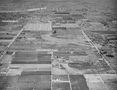 An aerial view of the fields and ranches around Studebaker Road and Rosecrans Avenue in Norwalk, California as it was in Norwalk California, Southern California, California Native American Tribes, Old Pictures, Old Photos, Rv Mods, World Map App, Santa Fe Springs, Aerial View