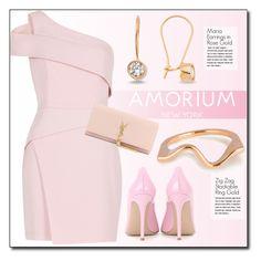"""Soft Rose"" by amorium ❤ liked on Polyvore featuring BCBGMAXAZRIA, Amorium, Yves Saint Laurent, Gianvito Rossi and amorium"