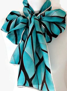 Long Silk Scarf Hand Painted In A Repeat by SimplySilkScarves,