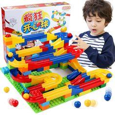 Il trasporto libero DIY Costruzione Gara Marmo Run Palle Pista Labirinto di Plastica Casa Building Blocks Giocattoli per bambini Di Natale No Box