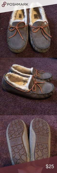 Ugg Moccasins Worn quite a few times but they're still in great condition! There is some wear on the heel part just from being warm. They've been waterproofed as well. UGG Shoes Moccasins
