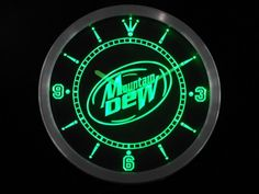 Mountain Dew Energy Drink Neon LED Wall Clock
