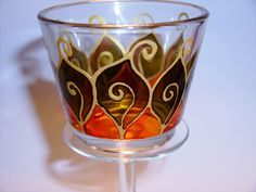 stained glass candle holder  | Hand painted stained glass.