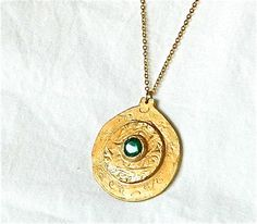 Hand Forged Bronze Pendant Set with Large Emerald Green CZ Jewel | craftsofthepast - Jewelry on ArtFire