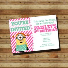Despicable Me Minion Birthday Party Invitation (digital file) Stuart dressed in the girl outfit